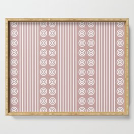 Geometric Stripes and Circles - White on Dusky Pink Serving Tray