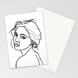 Woman's face line drawing - Adena Stationery Cards