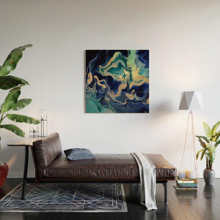DRAMAQUEEN - GOLD INDIGO MARBLE Wood Wall Art