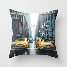 New York City Taxi Cabs Throw Pillow
