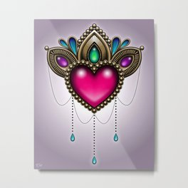 Heart of Stones - Victorian Tattoo Style Gems and Jewels Metal Print