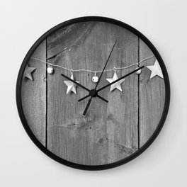 Stars on Wood (Black and White) Wall Clock