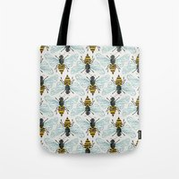 mod Tote Bags featuring Honey Bee by Cat Coquillette