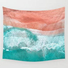 The Break - Turquoise Sea Pastel Pink Beach Wall Tapestry