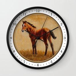 Bay Quarter Horse Foal Wall Clock