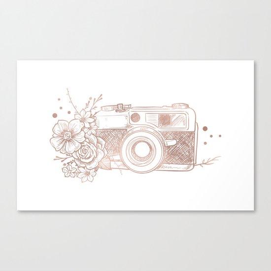 Floral Camera Pink Rose Gold Canvas Print
