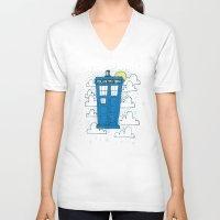tardis V-neck T-shirts featuring blue box by Matthew Taylor Wilson
