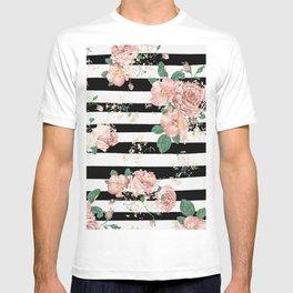 VINTAGE FLORAL ROSES BLACK AND WHITE STRIPES T-shirt