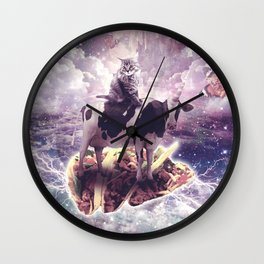 Space Cat Riding Cow Unicorn - Pizza & Taco Wall Clock