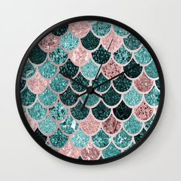 Mermaid Fish Scales, Pink, Rose Gold, Teal, Emerald Green Wall Clock