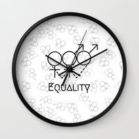 equality Wall Clocks featuring Marriage Equality by Purshue feat Sci Fi Dude