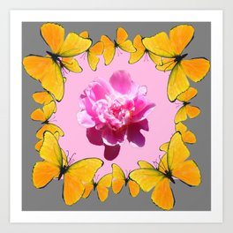 YELLOW BUTTERFLIES & PINK PEONY ON PINK-GREY ART Art Print