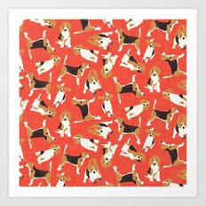 beagle scatter coral red Art Print