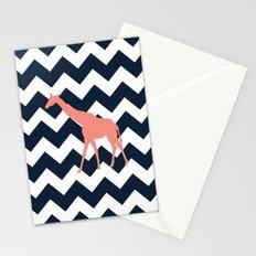 Giraffe on Chevron Background Stationery Cards