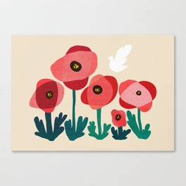 Poppy flowers and bird Canvas Print