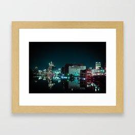 Milwaukee Skyline at Night Framed Art Print