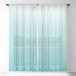 Modern teal watercolor gradient ombre brushstrokes pattern Sheer Curtain