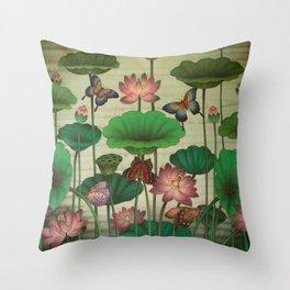 Lotus Painting Throw Pillow