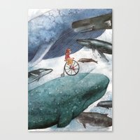 whales Canvas Prints featuring Whales by Judith Chamizo