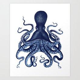 Watercolor blue vintage octopus Art Print