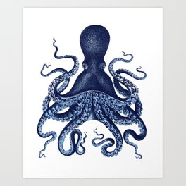 Watercolor blue vintage octopus Art Print