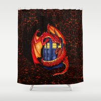 smaug Shower Curtains featuring Red Dragon Wyvern Smaug with Blue Phone booth iPhone 4 4s 5 5c 6, pillow case, mugs and tshirt by Three Second