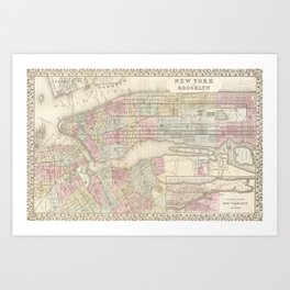 new york city old map Art Print