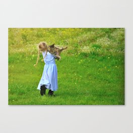 Little Girl With A Cat Canvas Print