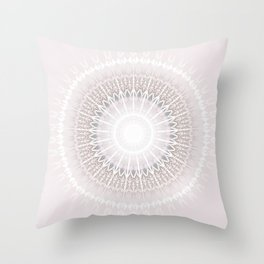 Pastel Gray Mandala Throw Pillow