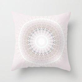 Pastel Gray Mandala Throw Pillow