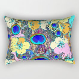 Modern Art Nouveau Peacock Jeweled Floral Blue Patterns Rectangular Pillow