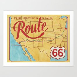 Vintage Route 66 The Mother Road Map Art Print