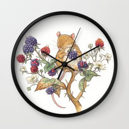 Mouse and Berries Wall Clock
