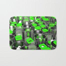 Metal tubes, hexagons and glass Bath Mat