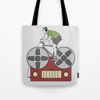 tape Tote Bags featuring Tape Rider by Janko Illustration