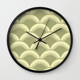 Japanese Fan Pattern Olive and Yellow Wall Clock