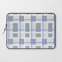 Retro Abstract Plaid Blue and Gray Laptop Sleeve