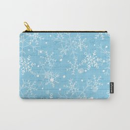 Snowflakes on Blue Wood Carry-All Pouch
