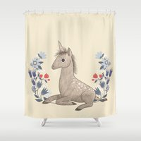 unicorn Shower Curtains featuring Unicorn by A.Vogler