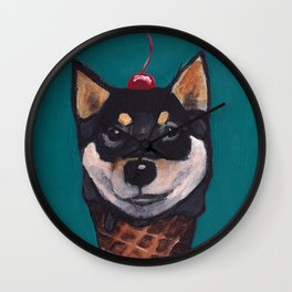 """Cherry on Pup"" Black Tan Shiba Inu Wall Clock"