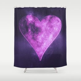Heart symbol. Playing card. Abstract night sky background Shower Curtain