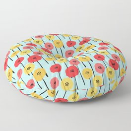 Bright Sunny Mod Poppy Flower Pattern Floor Pillow