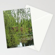 Lovely, soft green spring willow tree by the pond Stationery Cards