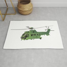 Green Vector Helicopter Rug
