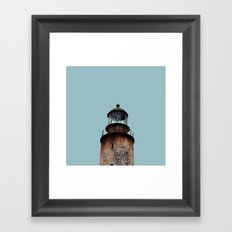 Lonely Old Lighthouse - Pale Blue Gray Framed Art Print
