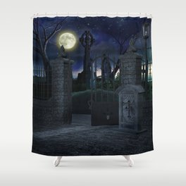 Graveyard #2 * Halloween Churchyard Scary Spooky Skeleton Tombstone Creepy Shower Curtain