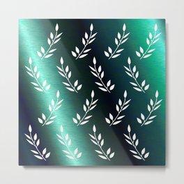 Botanical Pattern 1 in Midnight Celadon Teal Metal Print