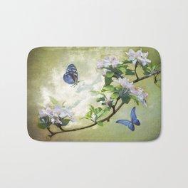 Butterflies and Apple Blossoms Bath Mat