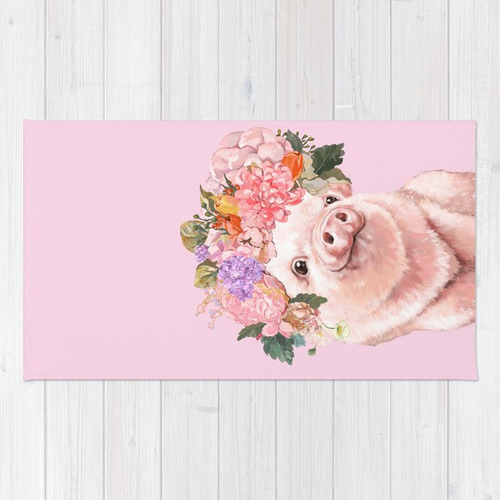 Baby Pig with Flowers Crown Rug