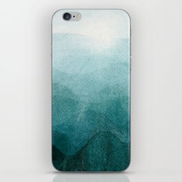 Sunrise in the mountains, dawn, teal, abstract watercolor iPhone Skin